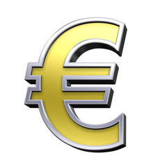 Euro sign from gold with chrome frame alphabet set