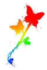 Butterfiles in paint splatter