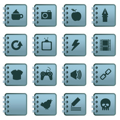 notebook icons blue set 2