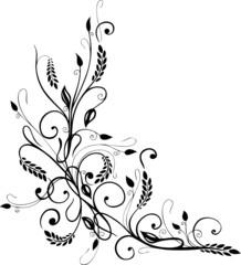 border, filigrane Ranke mit Gräsern und Blättern