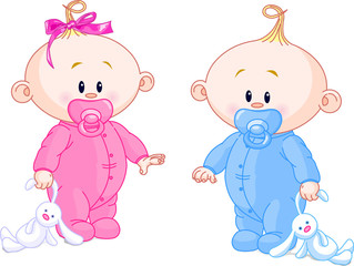 Canvas Prints Fairytale World Twin Babies