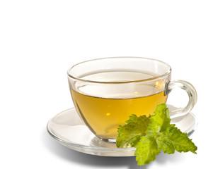 breakfast still-life. green tea with  fresh mint leaf