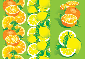 Juicy citrus on a green background. Healthy food.