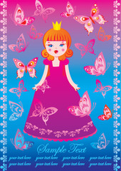 Beautiful princess with butterflies and sample text. Fairy-tale