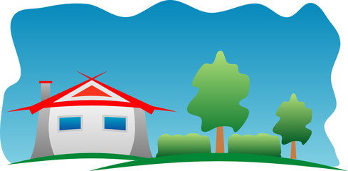 Color house illustration with three and blue background