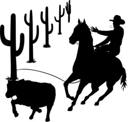 cowboy in action vector silhouettes