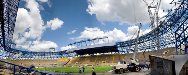 Poster de jardin Stade de football Panorama of the stadium in Ukraine