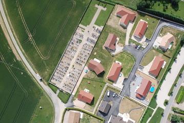 Habitat, vue aérienne verticale d'un lotissement