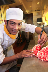 chef doing carving