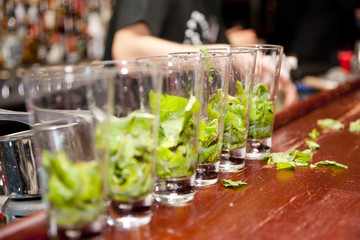 Highball glasses with mint - preparing mojitas