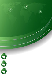 Vector abstract template in green color; clip-art