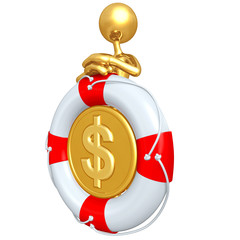 Gold Guy With Dollar Coin In A Life Preserver