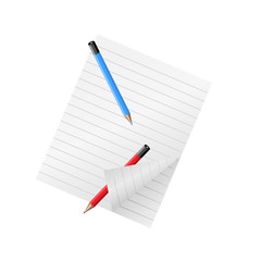 Two pencils and sheet of paper.Vector illustration