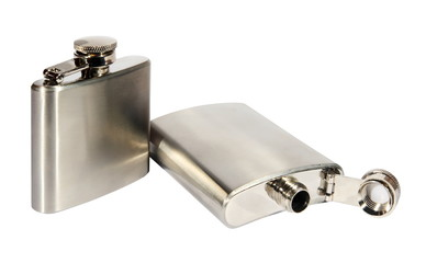 Two metallic flasks on a white background. (isolated)