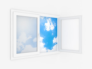 Opened plastic window template model on a white background