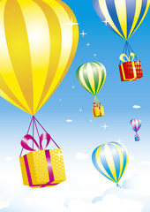 Several colorful hot air balloons carrying bright gift boxes