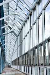 Glass corridor in office