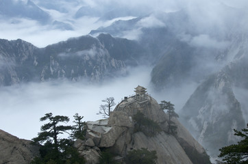 Poster de jardin Chine Hua Shan in a sea of clouds