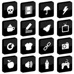 black tile icons set 2