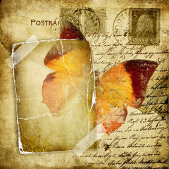 vintage photoalbum pages with butterfly