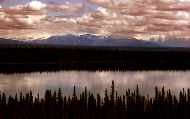 Sunset over Alaskan Mountain Range