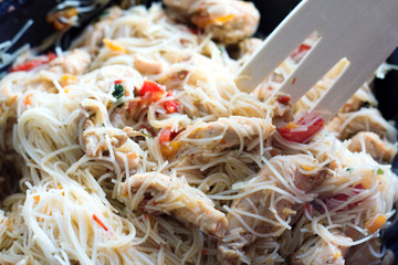 Cooking - chicken breast and vegetables with pasta