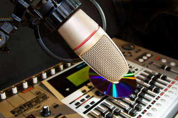Studio recording microphone with sound control panel