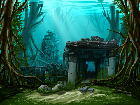 Ancient town ruins. Underwater background.