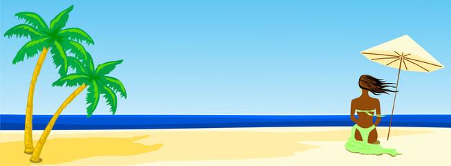 Spiaggia panoramica e ragazza