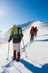 Hikers are in winter  mountains