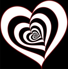 Foto op Canvas Rood, zwart, wit Love Tunnel