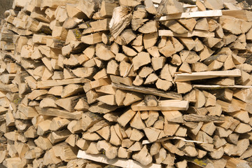 Pile of logs (firewood for stove)