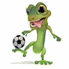 Gecko kicking soccer ball