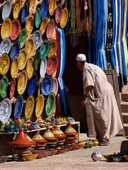 Fotorolgordijn Marokko venditore di vasellame