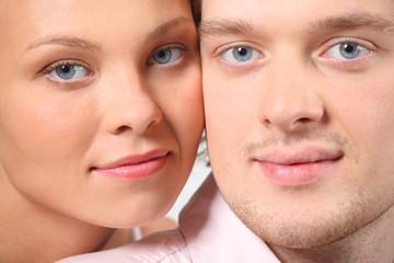 closeup portrait of young pair