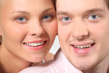 portrait of attractive couple, faces closeup