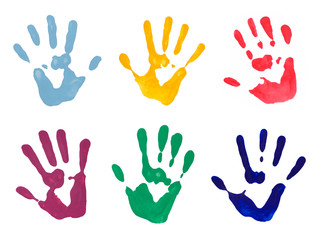 Colorful Hand Prints on White