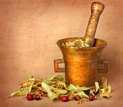 Old bronze mortar with linden and rose hips