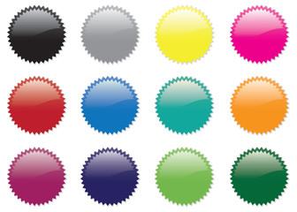 set of twelve stickers