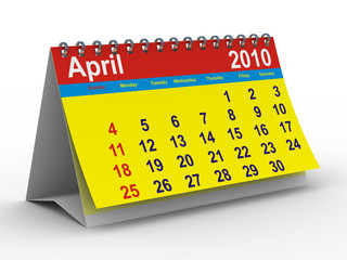 2010 year calendar. April. Isolated 3D image