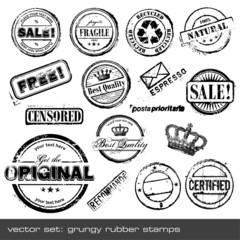 set of different rubber stamps - 16 items