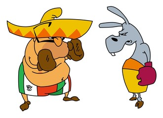 Mexican boxing with donkey