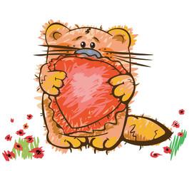Cute kitten with heart