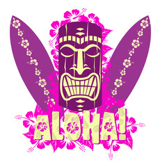 Vector illustration of tiki mask with surf boards