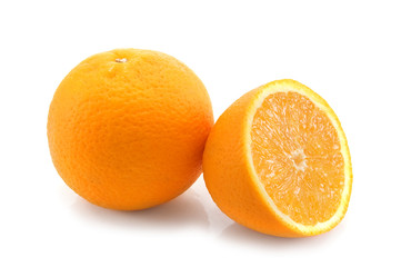 Orange fruits on the  white background.