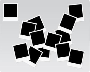 Polaroid frames on a heap