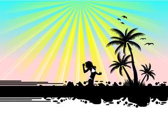 Südsee Insel mit Palmen und Frau