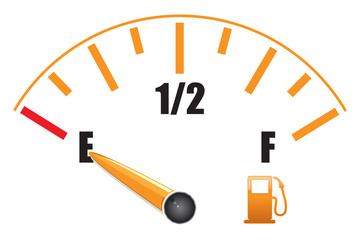a fuel gauge with symbol