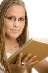 College girl reading book