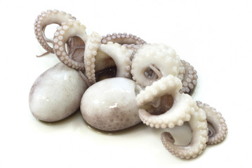 two cooked octopus isolated on white background
